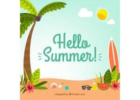 带有海滩元素的夏季背景_2147304