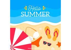 带有海滩景观和元素的夏季背景_2147110
