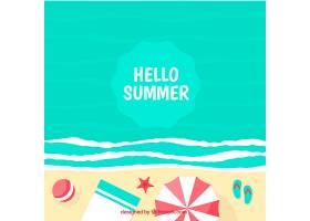 带有海滩景观和元素的夏季背景_2147111