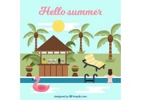 带有海滩景观和元素的夏季背景_2147120
