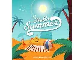 带有海滩景观和元素的夏季背景_2147123
