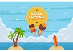 带有海滩景观和元素的夏季背景_2147124