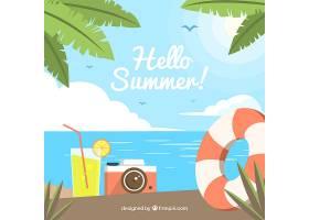 带有海滩景观和元素的夏季背景_2147126