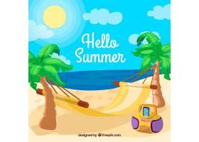 带有海滩景观和元素的夏季背景_2147129