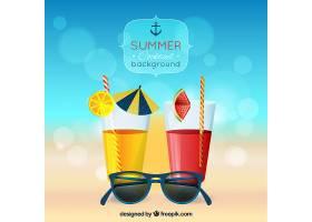 带着鸡尾酒和太阳镜的夏日散焦背景_1157978