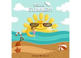 带有海滩景观和元素的夏季背景_2147130