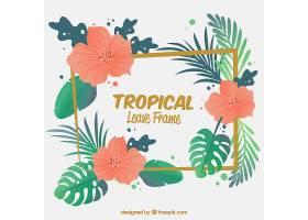 带有热带树叶和花朵的相框_2224989