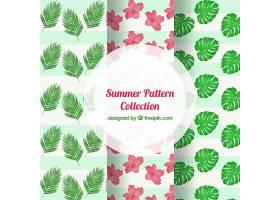 带有花朵和棕榈叶的夏季装饰性图案_1124243