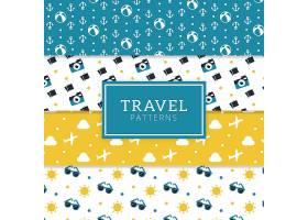 平面设计的带有旅行元素的装饰性图案包_1193436