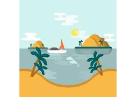 平面设计的棕榈树夏季景观_896785