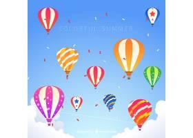 带气球的夏日背景_2297745