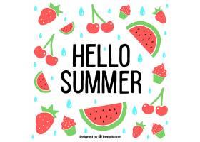 带水果的夏日背景_1128745