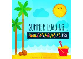 带有夏季元素的海滩背景_1113052