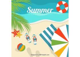 带有夏季装饰元素的海滩背景_1122821