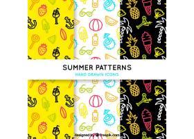 带有手绘元素的彩色夏季图案_1124246