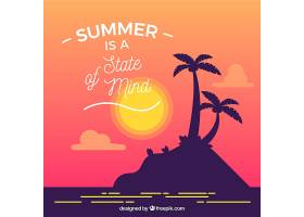 岛上棕榈树剪影的夏日语录背景_2225494