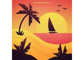 帆船航行的日落背景_1184855