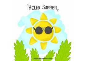 带太阳镜和树叶背景的手绘太阳_895089