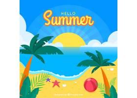 夏日背景海滩景观和棕榈树_2147109