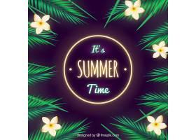 夏日背景热带花卉和棕榈叶_894587