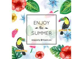 夏日背景热带花卉和水彩花_1161492