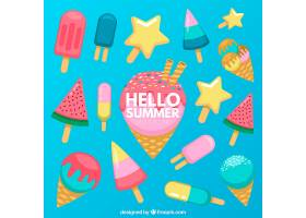 夏日背景配上美味的冰激凌_2146841