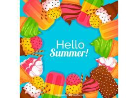 夏日背景配上美味的冰激凌_2146850