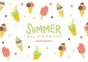 夏日背景配上美味的冰激凌_2179606