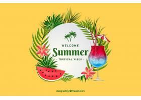 夏日背景配鸡尾酒和西瓜_2306166