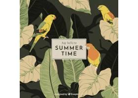 夏日问候的背景复古风格的鸟儿和植物_2163290