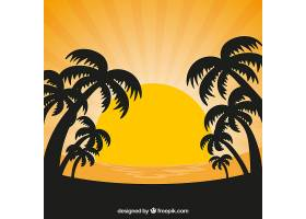 夕阳的背景和棕榈树的剪影_1105412