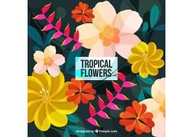 多种颜色的热带花卉背景_2354305