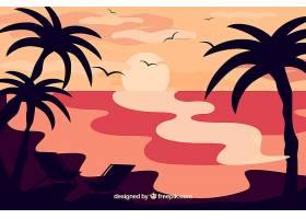 夏日的背景日落和棕榈树_2339073