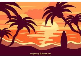 夏日的背景日落和棕榈树_2339074