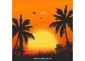 夏日的背景日落和棕榈树_2347515