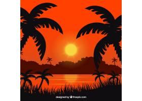 夏日的背景日落和棕榈树_2347516
