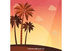 夏日的背景日落和棕榈树_2347541