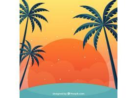 夏日的背景日落和棕榈树_2347542
