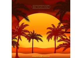 夏日的背景日落和棕榈树_2353140