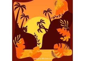 夏日的背景日落时有棕榈树和树叶_2224888