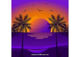 夏日的背景日落时有棕榈树和鸟儿_2224893