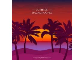 夏日的背景日落时棕榈树的剪影_2240813