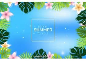 夏日的背景有植物和五颜六色的花朵_2171486
