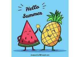夏日的背景有趣的水果_2190199