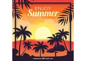 夏日的背景棕榈树的剪影和日落_2325556