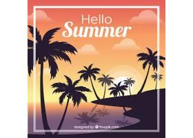 夏日的背景棕榈树的剪影和日落_2325557