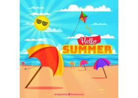夏日的背景海滩上打着五颜六色的雨伞_2179607