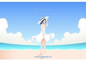 夏日背景与海滩上的女孩_2147021
