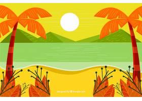 夏日背景与海滩景观_2297757