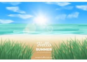 夏日背景与海滩景观_2306170